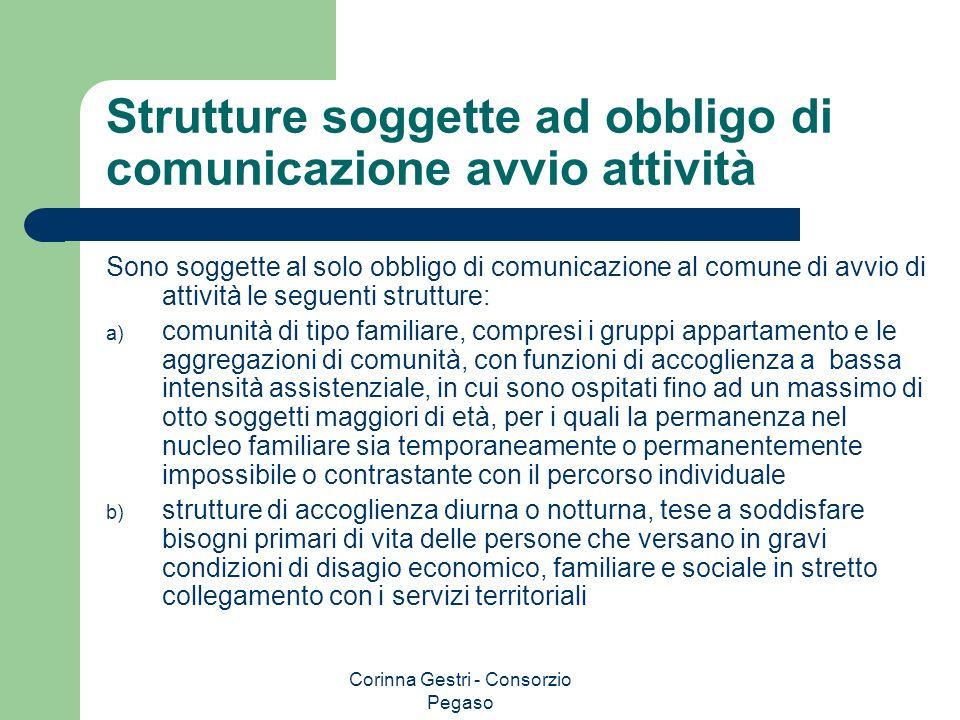 Corinna Gestri - Consorzio Pegaso Strutture soggette ad obbligo di comunicazione avvio attività Sono soggette al solo obbligo di comunicazione al comu