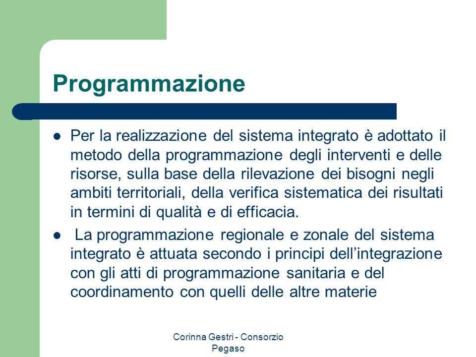 Corinna Gestri - Consorzio Pegaso Programmazione Per la realizzazione del sistema integrato è adottato il metodo della programmazione degli interventi