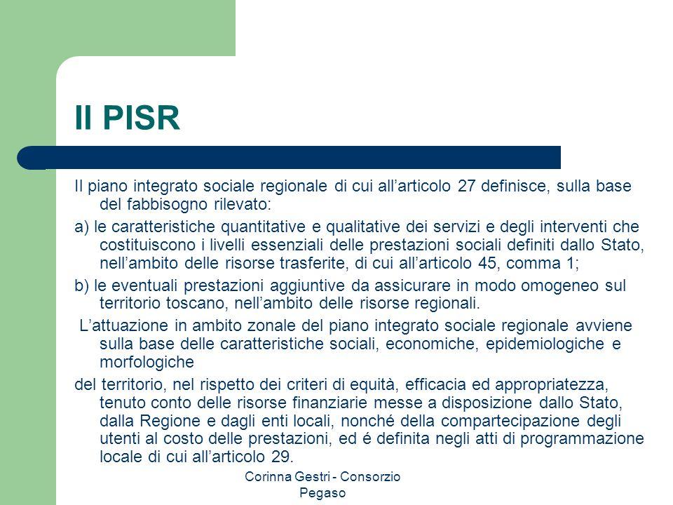 Corinna Gestri - Consorzio Pegaso Il PISR Il piano integrato sociale regionale di cui allarticolo 27 definisce, sulla base del fabbisogno rilevato: a)