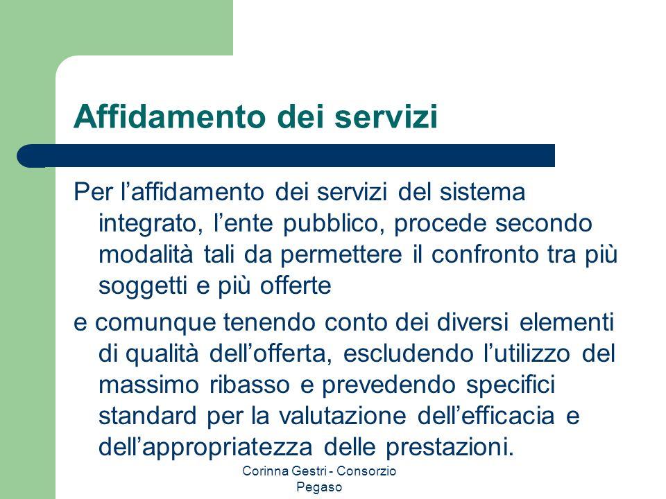 Corinna Gestri - Consorzio Pegaso Affidamento dei servizi Per laffidamento dei servizi del sistema integrato, lente pubblico, procede secondo modalità