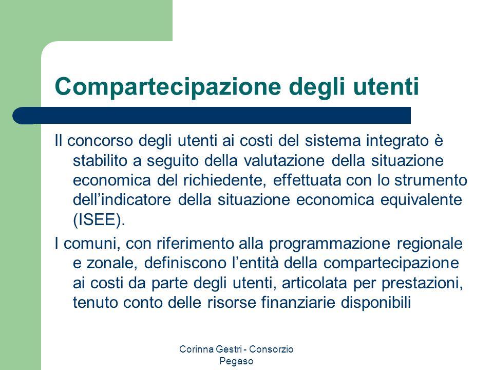 Corinna Gestri - Consorzio Pegaso Compartecipazione degli utenti Il concorso degli utenti ai costi del sistema integrato è stabilito a seguito della v