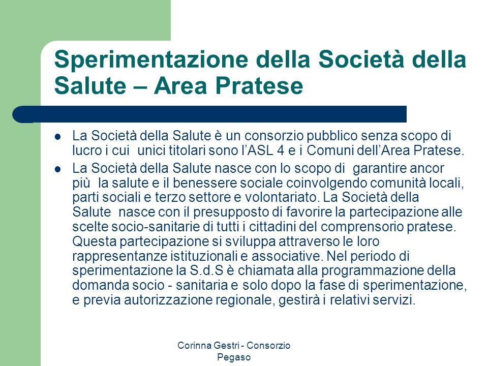 Corinna Gestri - Consorzio Pegaso Sperimentazione della Società della Salute – Area Pratese La Società della Salute è un consorzio pubblico senza scop