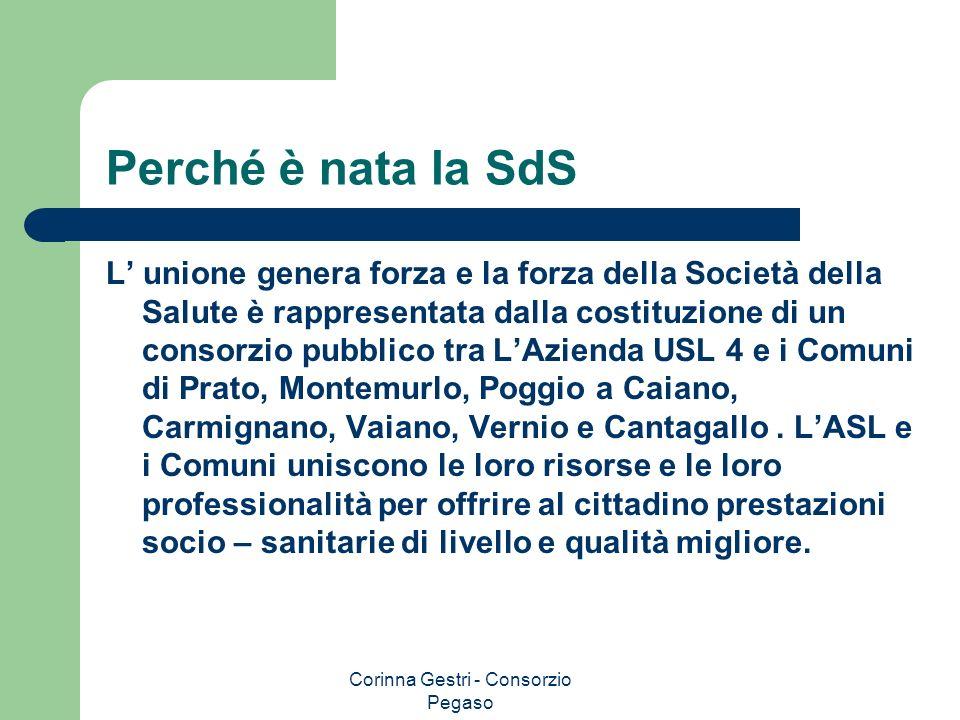 Corinna Gestri - Consorzio Pegaso Perché è nata la SdS L unione genera forza e la forza della Società della Salute è rappresentata dalla costituzione
