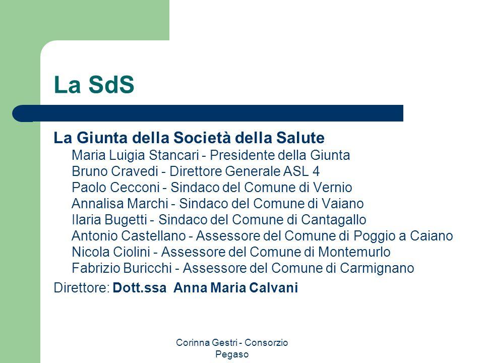 Corinna Gestri - Consorzio Pegaso La SdS La Giunta della Società della Salute Maria Luigia Stancari - Presidente della Giunta Bruno Cravedi - Direttor