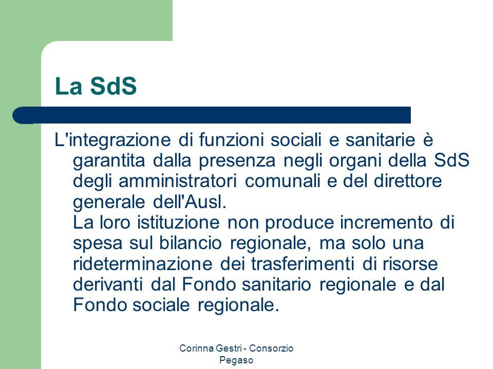 Corinna Gestri - Consorzio Pegaso La SdS L'integrazione di funzioni sociali e sanitarie è garantita dalla presenza negli organi della SdS degli ammini