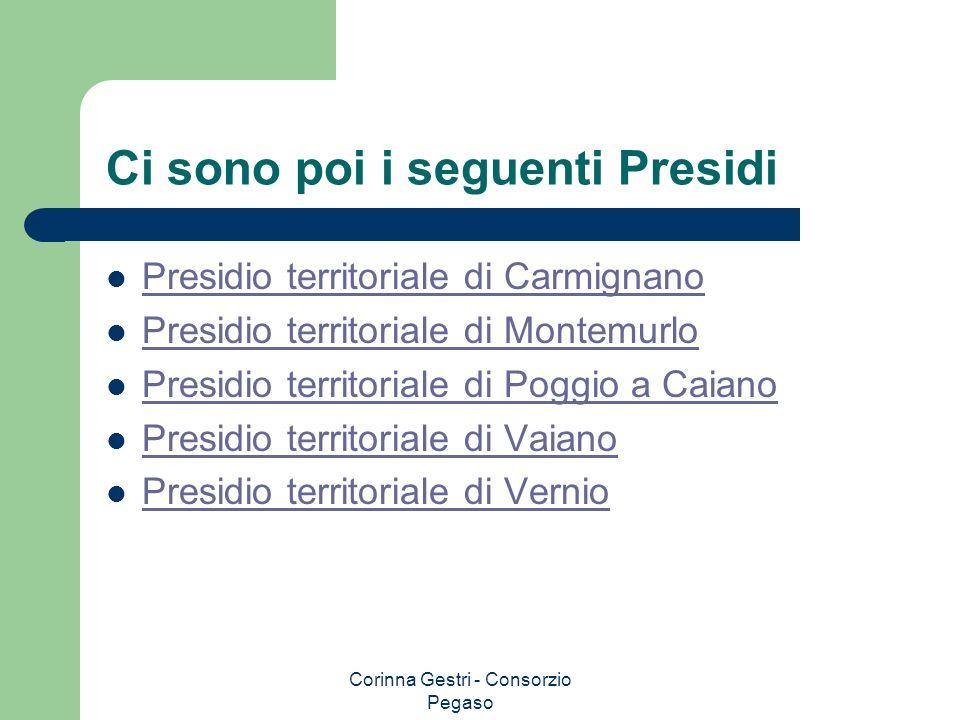 Corinna Gestri - Consorzio Pegaso Ci sono poi i seguenti Presidi Presidio territoriale di Carmignano Presidio territoriale di Montemurlo Presidio terr