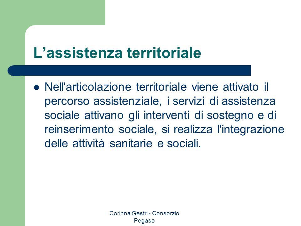 Corinna Gestri - Consorzio Pegaso Lassistenza territoriale Nell'articolazione territoriale viene attivato il percorso assistenziale, i servizi di assi