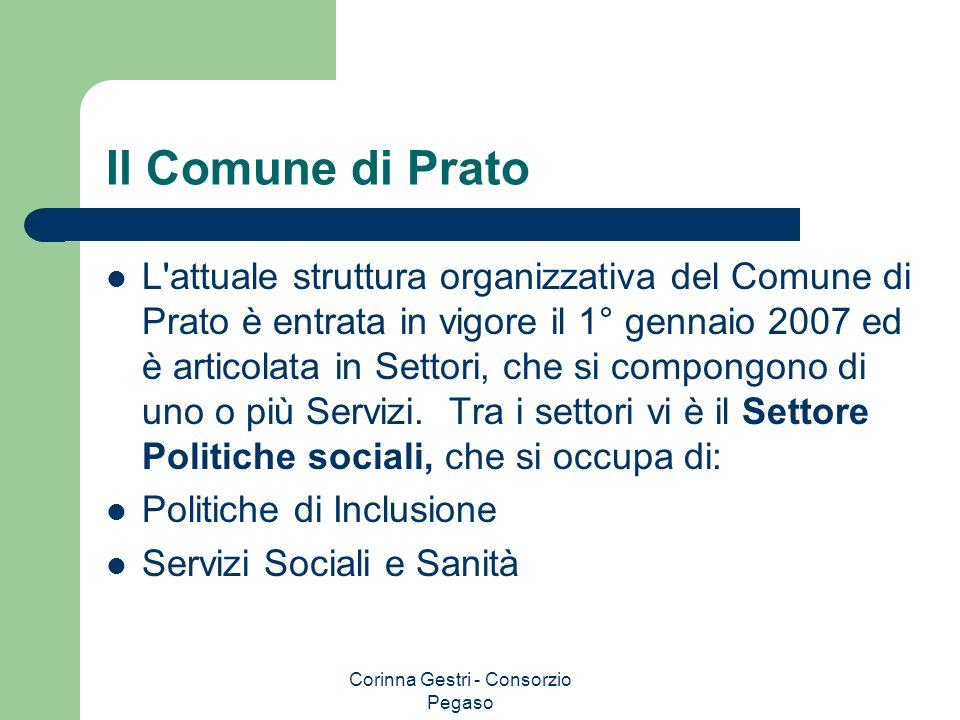 Corinna Gestri - Consorzio Pegaso Il Comune di Prato L'attuale struttura organizzativa del Comune di Prato è entrata in vigore il 1° gennaio 2007 ed è