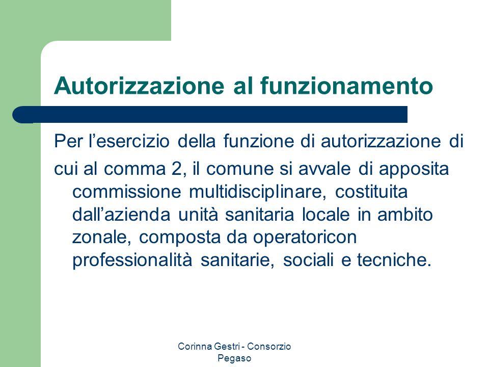 Corinna Gestri - Consorzio Pegaso Autorizzazione al funzionamento Per lesercizio della funzione di autorizzazione di cui al comma 2, il comune si avva