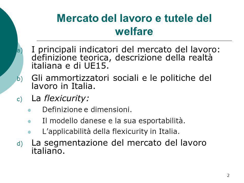 2 Mercato del lavoro e tutele del welfare a) I principali indicatori del mercato del lavoro: definizione teorica, descrizione della realtà italiana e