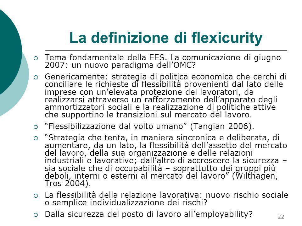 22 La definizione di flexicurity Tema fondamentale della EES. La comunicazione di giugno 2007: un nuovo paradigma dellOMC? Genericamente: strategia di