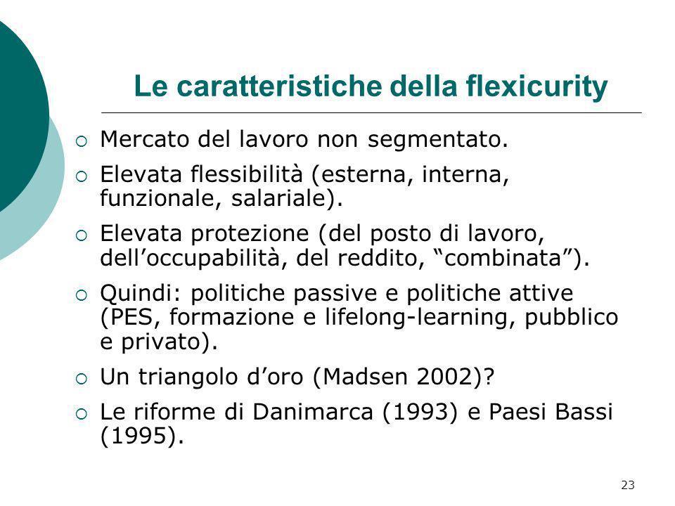 23 Le caratteristiche della flexicurity Mercato del lavoro non segmentato. Elevata flessibilità (esterna, interna, funzionale, salariale). Elevata pro