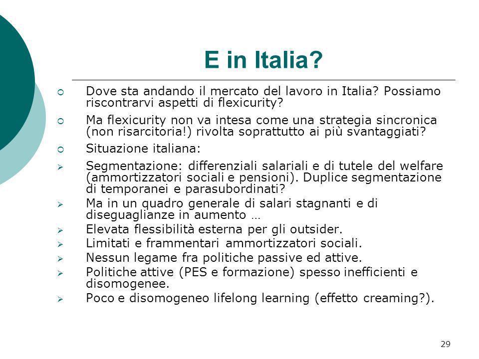 29 E in Italia? Dove sta andando il mercato del lavoro in Italia? Possiamo riscontrarvi aspetti di flexicurity? Ma flexicurity non va intesa come una