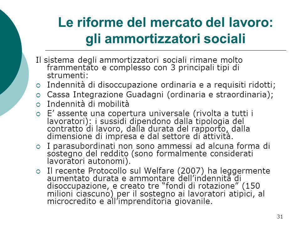 31 Le riforme del mercato del lavoro: gli ammortizzatori sociali Il sistema degli ammortizzatori sociali rimane molto frammentato e complesso con 3 pr