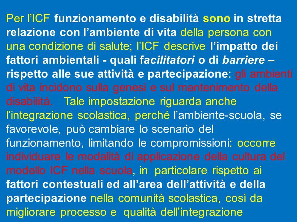 Per lICF funzionamento e disabilità sono in stretta relazione con lambiente di vita della persona con una condizione di salute; lICF descrive limpatto