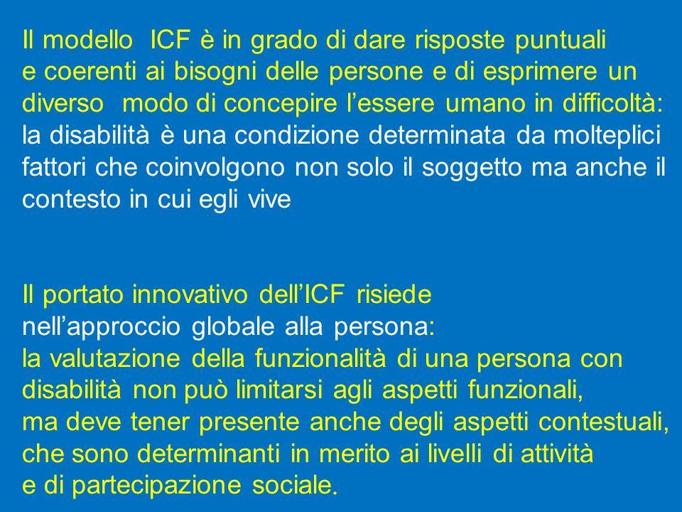 Il modello ICF è in grado di dare risposte puntuali e coerenti ai bisogni delle persone e di esprimere un diverso modo di concepire lessere umano in d