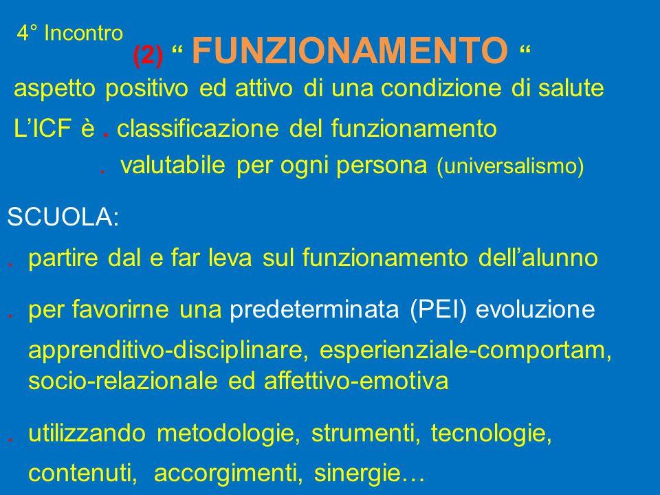 4° Incontro (2) FUNZIONAMENTO aspetto positivo ed attivo di una condizione di salute LICF è. classificazione del funzionamento. valutabile per ogni pe