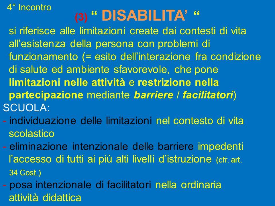 (3) DISABILITA si riferisce alle limitazioni create dai contesti di vita allesistenza della persona con problemi di funzionamento (= esito dellinteraz