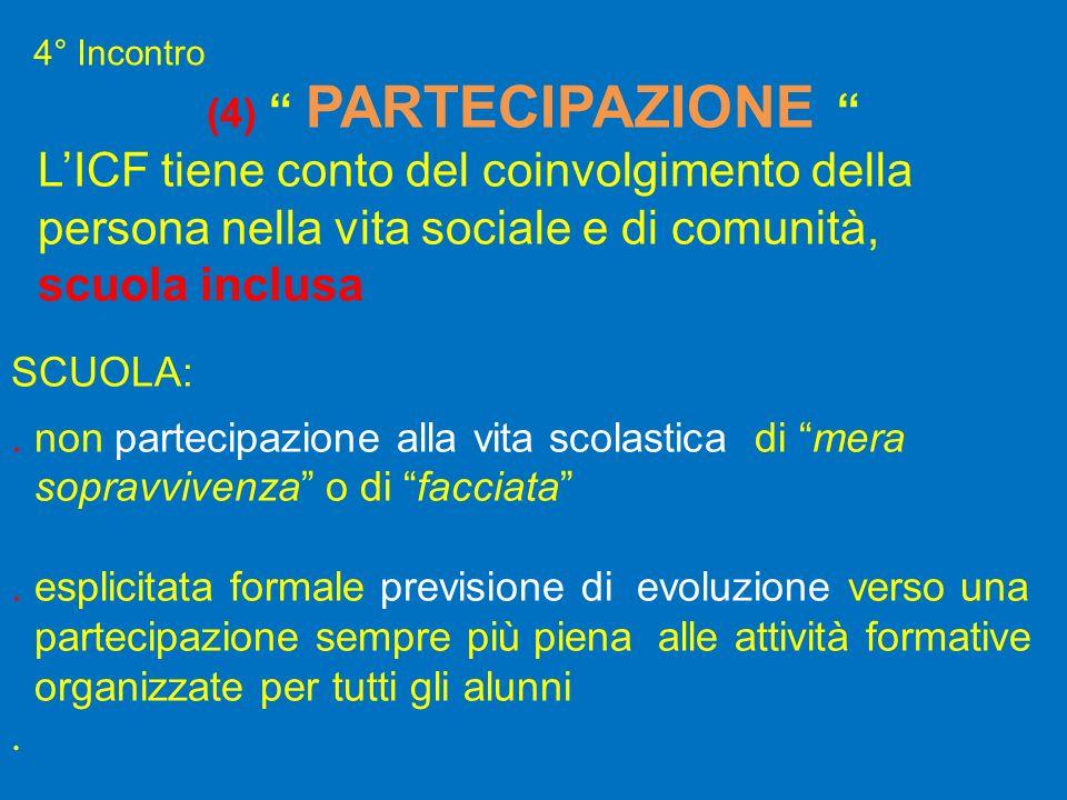 (4) PARTECIPAZIONE LICF tiene conto del coinvolgimento della persona nella vita sociale e di comunità, scuola inclusa SCUOLA:. non partecipazione alla