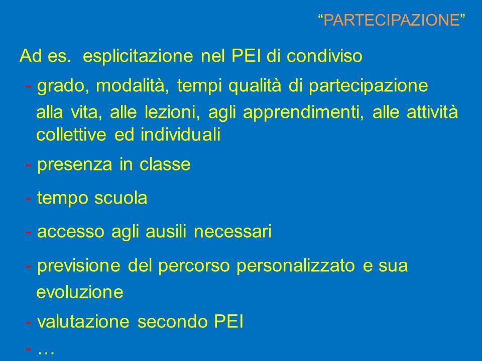 Ad es. esplicitazione nel PEI di condiviso - grado, modalità, tempi qualità di partecipazione alla vita, alle lezioni, agli apprendimenti, alle attivi