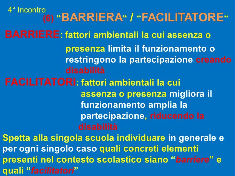 (6) BARRIERA / FACILITATORE BARRIERE : fattori ambientali la cui assenza o presenza limita il funzionamento o restringono la partecipazione creando di