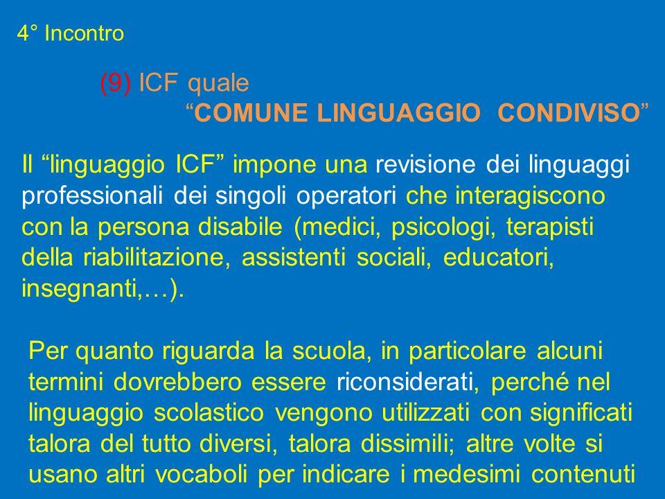 4° Incontro (9) ICF quale COMUNE LINGUAGGIO CONDIVISO Il linguaggio ICF impone una revisione dei linguaggi professionali dei singoli operatori che int