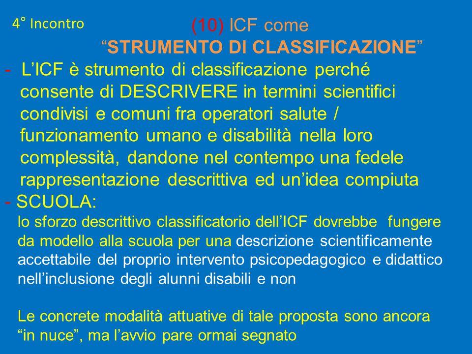 4° Incontro (10) ICF come STRUMENTO DI CLASSIFICAZIONE - LICF è strumento di classificazione perché consente di DESCRIVERE in termini scientifici cond