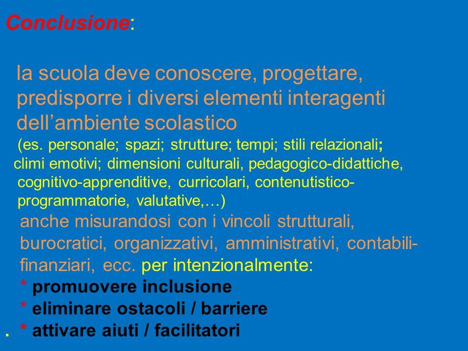 Conclusione: la scuola deve conoscere, progettare, predisporre i diversi elementi interagenti dellambiente scolastico (es. personale; spazi; strutture