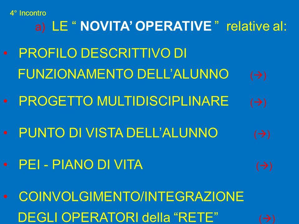 4° Incontro a) LE NOVITA OPERATIVE relative al: PROFILO DESCRITTIVO DI FUNZIONAMENTO DELLALUNNO ( ) PROGETTO MULTIDISCIPLINARE ( ) PUNTO DI VISTA DELL