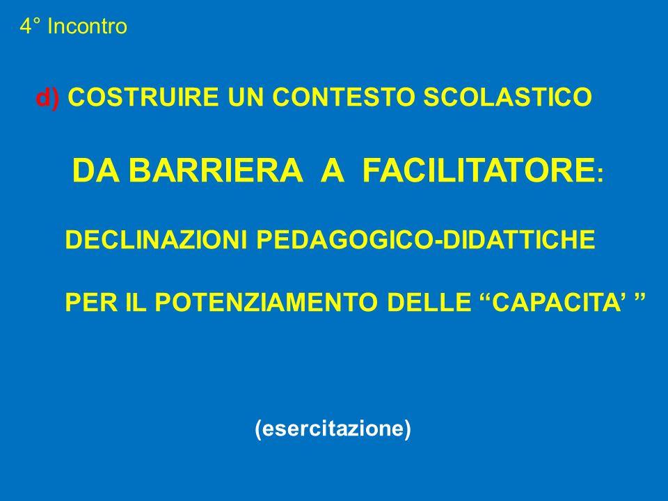 4° Incontro d) COSTRUIRE UN CONTESTO SCOLASTICO DA BARRIERA A FACILITATORE : DECLINAZIONI PEDAGOGICO-DIDATTICHE PER IL POTENZIAMENTO DELLE CAPACITA (e