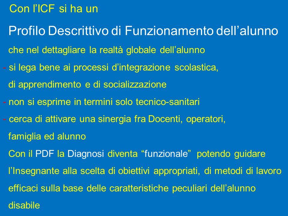 Con lICF si ha un Profilo Descrittivo di Funzionamento dellalunno che nel dettagliare la realtà globale dellalunno - si lega bene ai processi dintegra