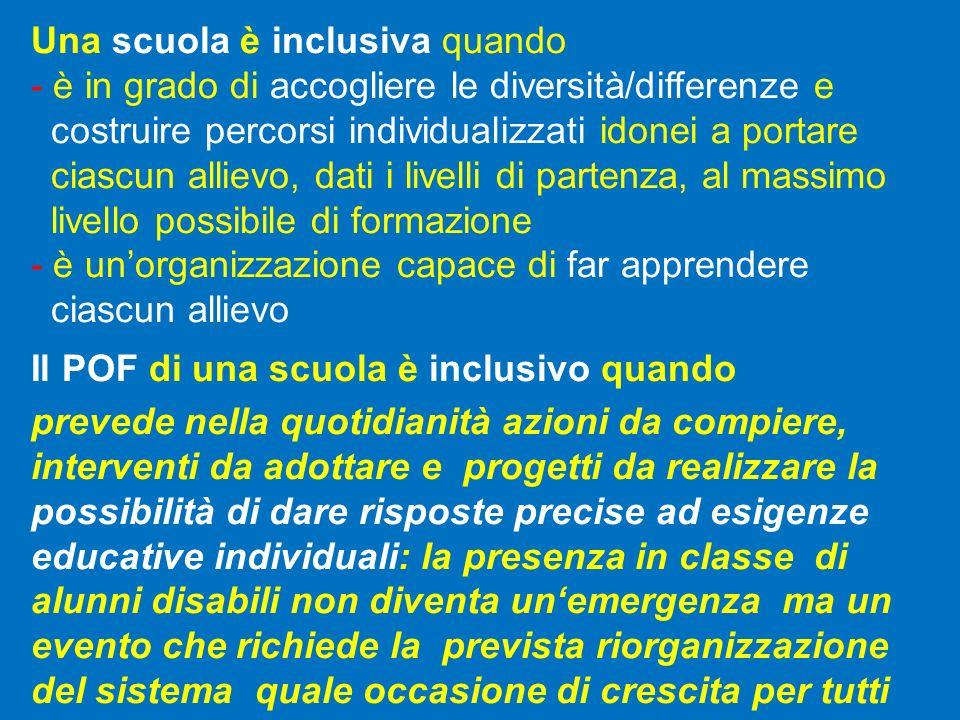 Una scuola è inclusiva quando - è in grado di accogliere le diversità/differenze e costruire percorsi individualizzati idonei a portare ciascun alliev
