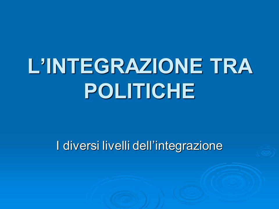 LINTEGRAZIONE TRA POLITICHE I diversi livelli dellintegrazione