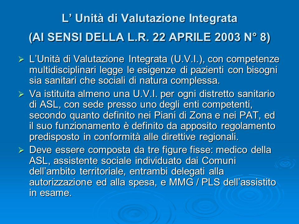 L Unità di Valutazione Integrata (AI SENSI DELLA L.R. 22 APRILE 2003 N° 8) LUnità di Valutazione Integrata (U.V.I.), con competenze multidisciplinari