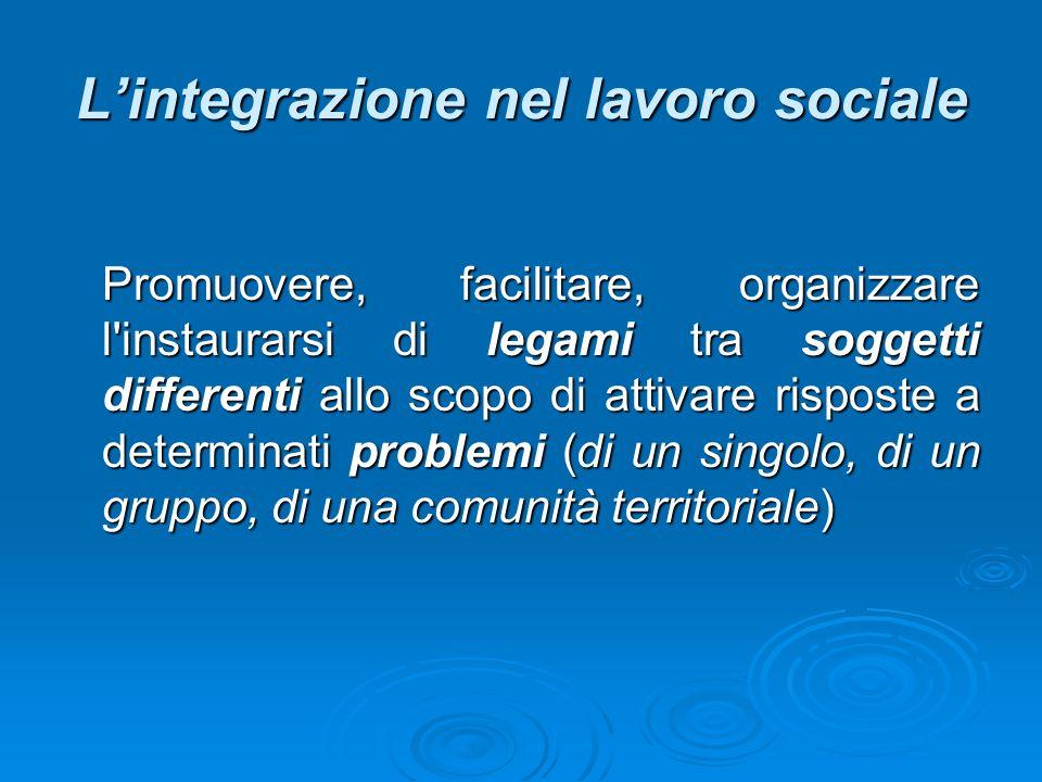Lintegrazione nel lavoro sociale Promuovere, facilitare, organizzare l instaurarsi di legami tra soggetti differenti allo scopo di attivare risposte a determinati problemi (di un singolo, di un gruppo, di una comunità territoriale)