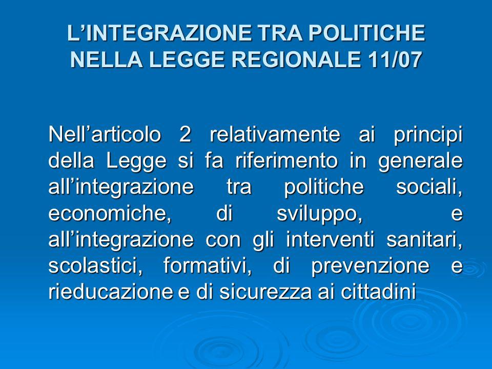 LINTEGRAZIONE TRA POLITICHE NELLA LEGGE REGIONALE 11/07 Nellarticolo 2 relativamente ai principi della Legge si fa riferimento in generale allintegraz