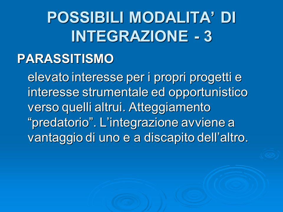 POSSIBILI MODALITA DI INTEGRAZIONE - 3 PARASSITISMO elevato interesse per i propri progetti e interesse strumentale ed opportunistico verso quelli altrui.