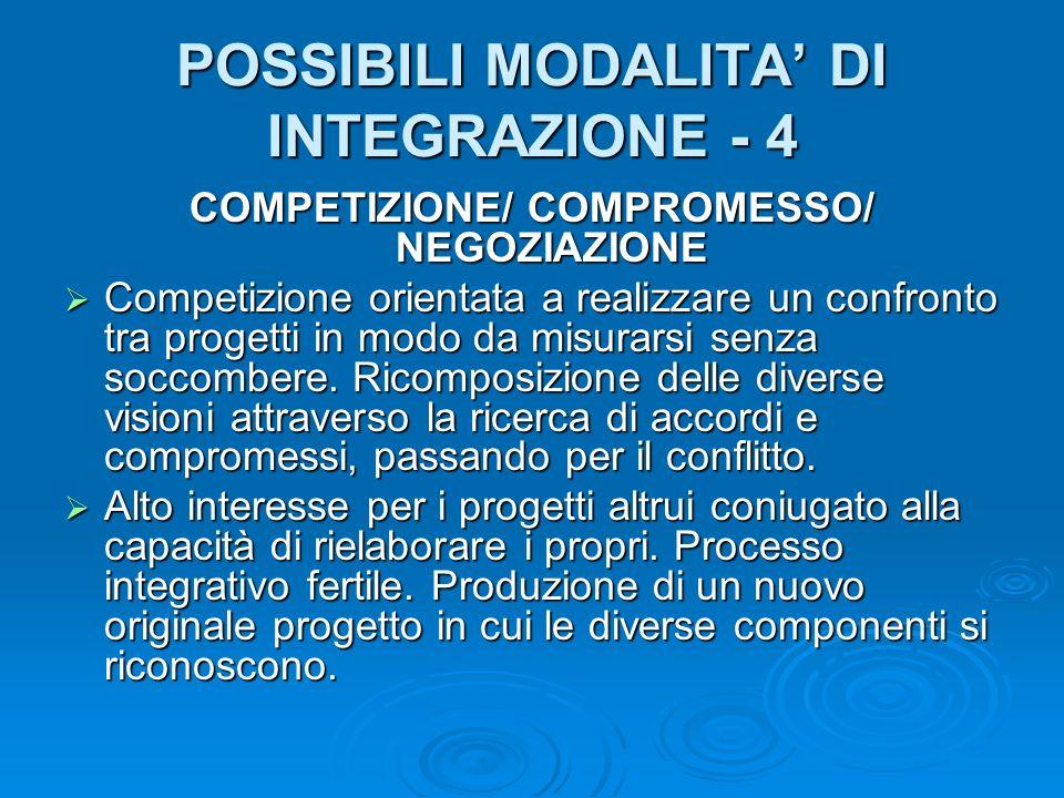 POSSIBILI MODALITA DI INTEGRAZIONE - 4 COMPETIZIONE/ COMPROMESSO/ NEGOZIAZIONE Competizione orientata a realizzare un confronto tra progetti in modo da misurarsi senza soccombere.