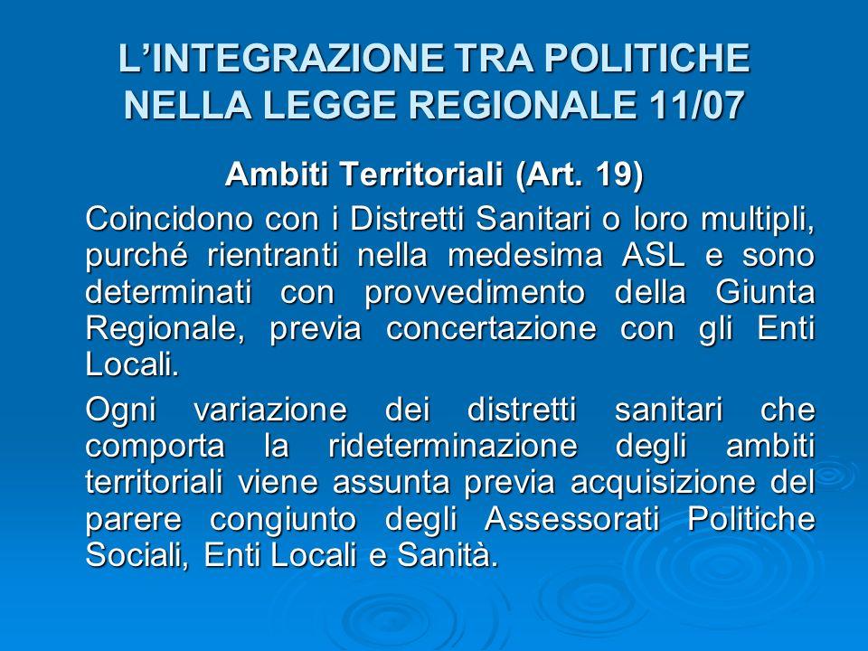 LINTEGRAZIONE TRA POLITICHE NELLA LEGGE REGIONALE 11/07 Ambiti Territoriali (Art. 19) Coincidono con i Distretti Sanitari o loro multipli, purché rien