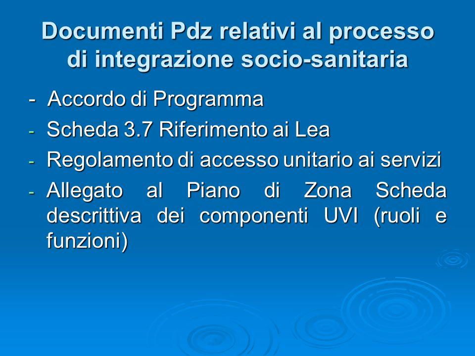 Documenti Pdz relativi al processo di integrazione socio-sanitaria - Accordo di Programma - Scheda 3.7 Riferimento ai Lea - Regolamento di accesso uni