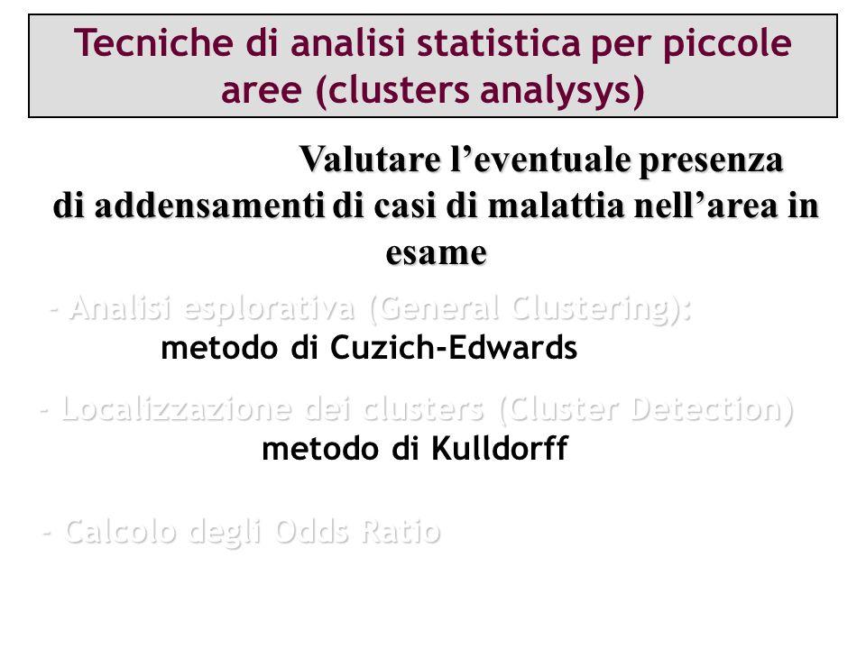 Tecniche di analisi statistica per piccole aree (clusters analysys) Valutare leventuale presenza OBIETTIVO: Valutare leventuale presenza di addensamen
