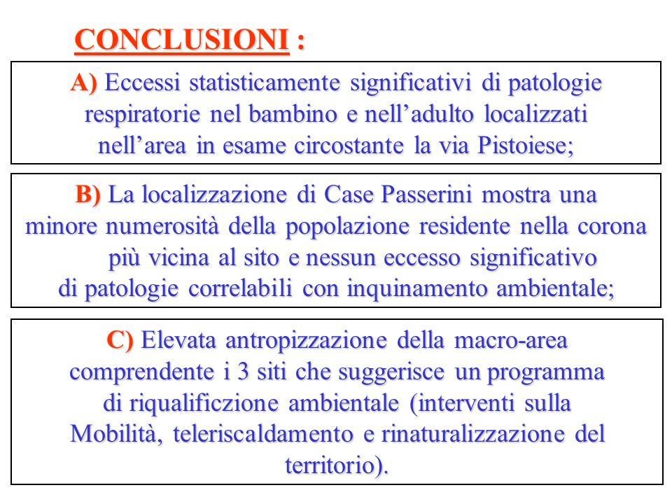 A) Eccessi statisticamente significativi di patologie respiratorie nel bambino e nelladulto localizzati nellarea in esame circostante la via Pistoiese