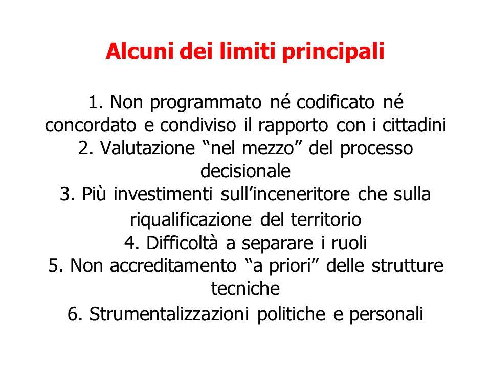Alcuni dei limiti principali 1. Non programmato né codificato né concordato e condiviso il rapporto con i cittadini 2. Valutazione nel mezzo del proce