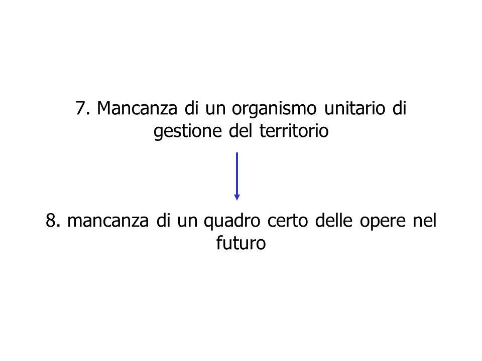 7. Mancanza di un organismo unitario di gestione del territorio 8. mancanza di un quadro certo delle opere nel futuro