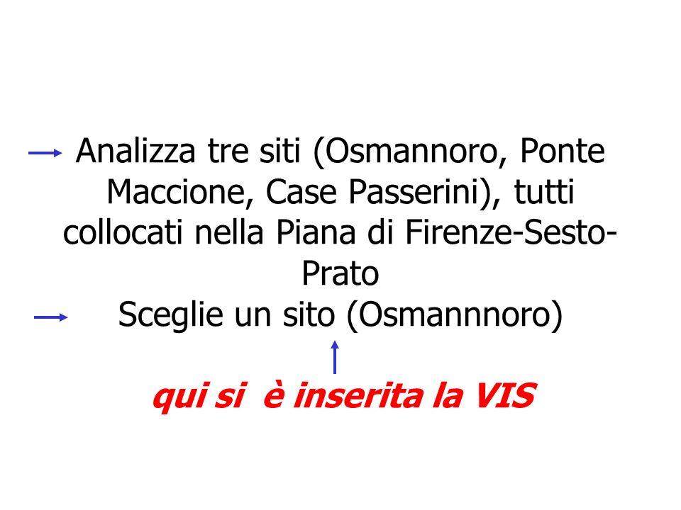 Analizza tre siti (Osmannoro, Ponte Maccione, Case Passerini), tutti collocati nella Piana di Firenze-Sesto- Prato Sceglie un sito (Osmannnoro) qui si