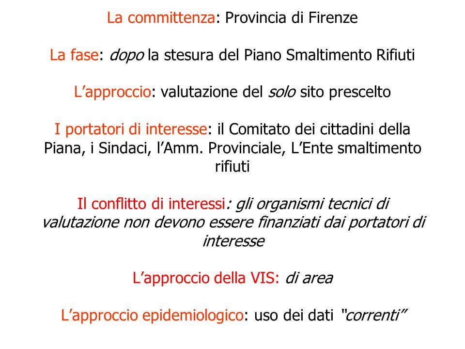 La committenza: Provincia di Firenze La fase: dopo la stesura del Piano Smaltimento Rifiuti Lapproccio: valutazione del solo sito prescelto I portator