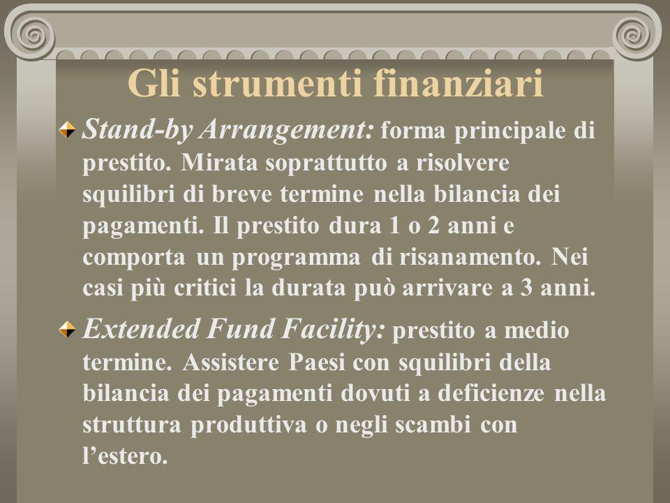 Gli strumenti finanziari Stand-by Arrangement: forma principale di prestito. Mirata soprattutto a risolvere squilibri di breve termine nella bilancia