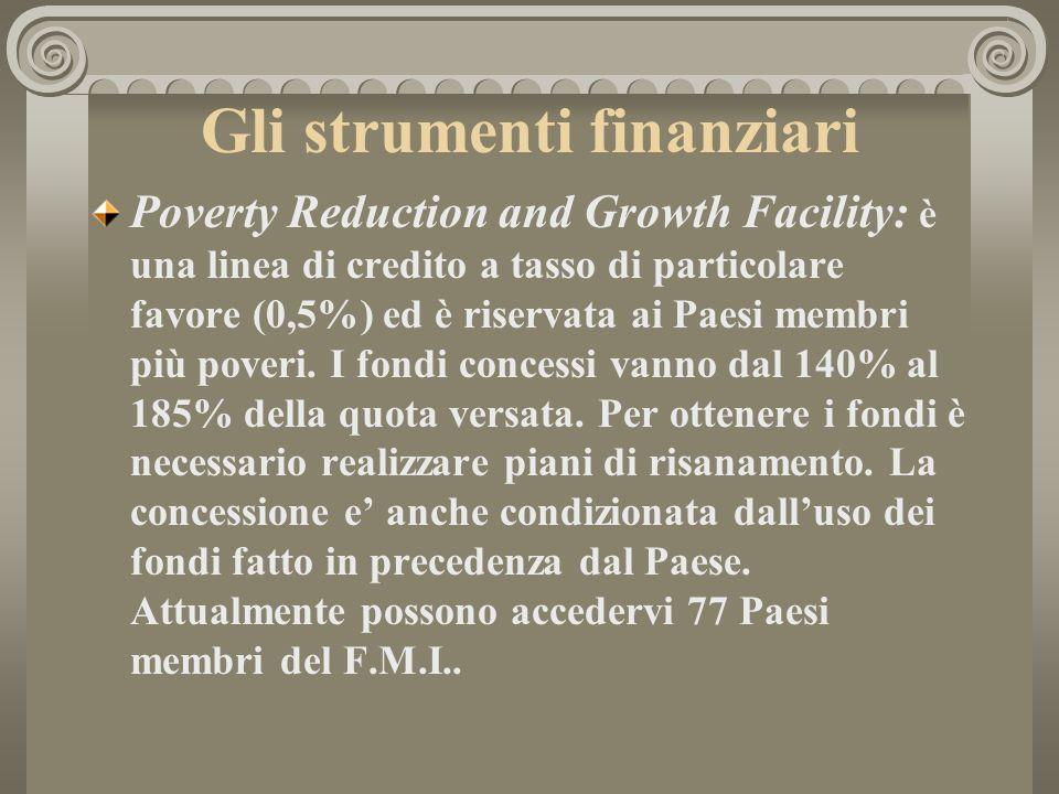Gli strumenti finanziari Poverty Reduction and Growth Facility: è una linea di credito a tasso di particolare favore (0,5%) ed è riservata ai Paesi me