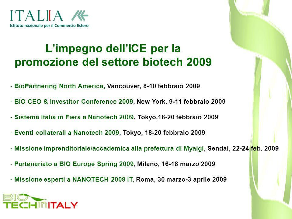 Limpegno dellICE per la promozione del settore biotech 2009 - BioPartnering North America, Vancouver, 8-10 febbraio 2009 - BIO CEO & Investitor Confer