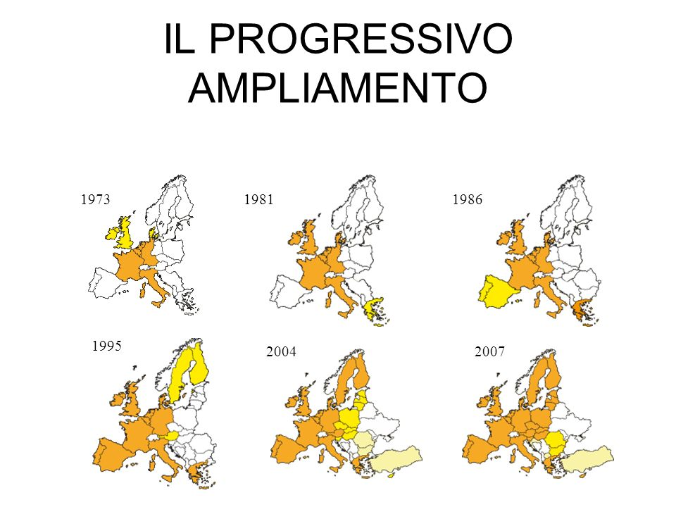 IL PROGRESSIVO AMPLIAMENTO 197319811986 1995 20042007